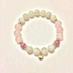 Love Bracelet ~ Genuine Rose Quartz, Rhodonite & Rainbow Moonstone Bracelet w/ Sterling Silver Tiny Heart Charm ~