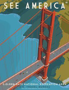 Golden Gate Bridge, Poster Prints, America, Travel, Viajes, Trips, Usa, Tourism, Traveling