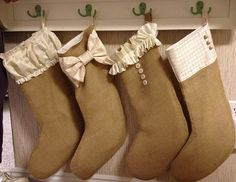 Burlap Stocking Tutorial- wish I would have seen this tutorial BEFORE I pulled my hair out making my own pattern. :-) ~ Mrs.Joseph Wood