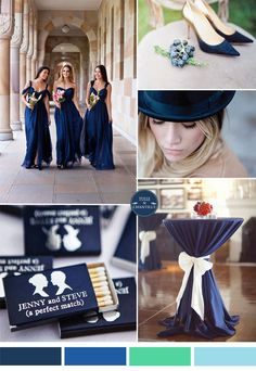 dark blue bridesmaid dressed and sapphire blue jewel-toned wedding color ideas for fall 2015