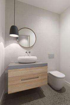 Kew House by Mesh Design Projects Bathroom Sink Vanity, Bathroom Toilets, Bathroom Renos, Bathroom Renovations, Bathroom Interior, Rustic Bathrooms, Modern Bathroom, Small Bathroom, Powder Room Lighting
