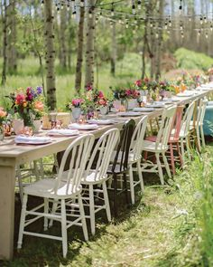 OUTDOOR DINING // these warm fall days are reminding me of the long table dinners under the trees and the breeze and the cafe lights! Did you have an outdoor reception? An intimate backyard reception? A picnic? for you wedding? . This image by @chloephotoab from @wild_rose_weddingworkshops styled shoot workshop! Farmhouse chairs @orangetrunk Tables @greateventsrent Lighting @everlasting_impressions_ Florals @fallforflorals Venue @westerly_edge Gown @noviamiabridal Jewelry… Outdoor Dining, Outdoor Chairs, Outdoor Furniture Sets, Outdoor Decor, Outdoor Ceremony, Eclectic Chairs, Eclectic Decor, Wedding Sand, Wedding Dinner