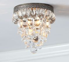 Clarissa Glass Drop Flushmount | Pottery Barn - comes in sconce style too