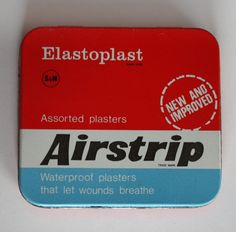 1970s Elastoplast Airstrip Plasters In Tin - permanent fixture on my knees...