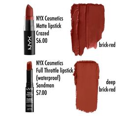 Ideas Nails Matte Red Nyx Cosmetics For 2019 Matte Lipstick Brands, Drugstore Lipstick, Lipstick For Fair Skin, Lipstick Swatches, Makeup Dupes, Skin Makeup, Makeup Lipstick, Brown Lipstick, Matte Lipsticks