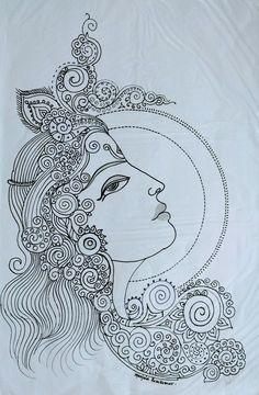 Art Drawings For Kids, Art Drawings Sketches Simple, Pencil Art Drawings, Doodle Art Drawing, Mandala Drawing, Mandala Art, Kerala Mural Painting, Indian Art Paintings, Madhubani Art