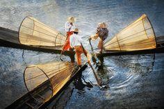 THREE FISHERMAN ON INLE LAKE Inle Lake, Myanmar, January 2011 (by David Lazar/Brisbane, Australia)