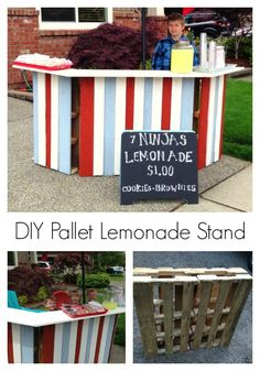 Make your own Lemonade Stand using old pallets! This design even folds up for better storage! {Dolen Diaries}