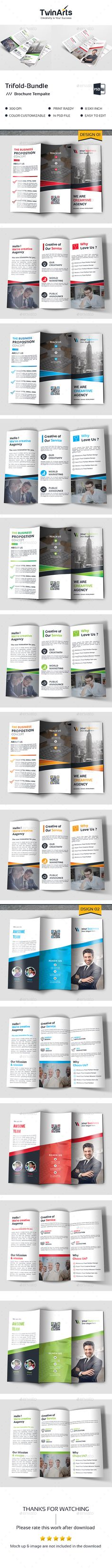 Trifold Bundle - #Brochures Print #Templates Download here: https://graphicriver.net/item/trifold-bundle/19353324?ref=alena994