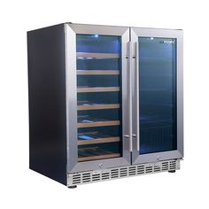 Husky Twin Zone Beer And Wine Refrigerator Combination Stainless Door