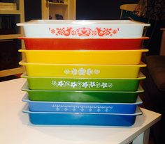 Pyrex 933 Lasagna Pan Rainbow stack by theapplecake, via Flickr