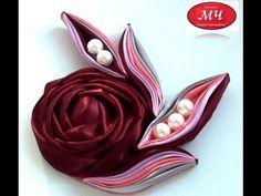 МК роза с необычными листиками. Канзаши. Цветы из лент. DIY Rose ribbon - YouTube