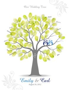 Thumbprint Wedding Tree Guest Signature Poster with Ink Pad, Personalized Wedding Tree with Owls, 11x14