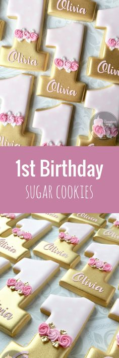 Personalized Pink and Gold First birthday Number 1 (one) - Decorated Sugar Cookies #affiliate
