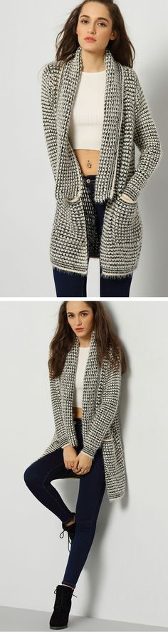 Grey Long Sleeve Lapel Knit Cardigan trend continues this Fall. Pair it with thesuede heels and a black jeans and you are good to go. SHEIN.