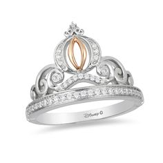 From the Enchanted Disney Collection inspired by Cinderella, this detailed diamond carriage ring is her dream-come-true. Crafted in sterling silver, the shimmering diamond-lined band is topped with a scrolling filigree tiara and includes a diamond-adorned carriage with 10K rose gold details. Glimmering with 1/6 ct. t.w. of diamonds and a brilliant buffed luster, this dazzling design makes the moment magical. This ring is available in size 7 only. Sterling silver rings cannot be resized a...