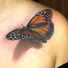 Amazing Realistic 3d Butterfly Tattoo Idea Amazing 3d Tattoos, Best 3d Tattoos, Body Art Tattoos, Popular Tattoos, Beautiful Tattoos, Tatoo 3d, Get A Tattoo, Shadow Tattoo, Tattoo Outline