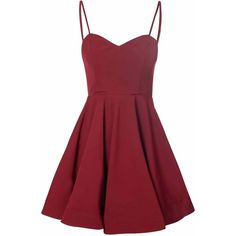 Burgundy Full Skirt Dress found on Polyvore featuring polyvore, women's fashion, clothing, dresses, vestidos, short dresses, red, burgundy, red mini dress and red party dresses