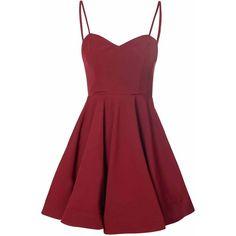 Glamorous women's burgundy full skirt dress. Features spaghetti straps, sweetheart style neckline and full skirt. Exposed zip fastening at the reverse. Regular…