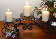 Rustic Wrought Iron Candle Holders | Wrought Iron Candle Holder - Table Decoration - Curly 3 Cup Dark ... Candler Holder, Wrought Iron Candle Holders, Table Centerpieces, Table Decorations, Candle Holders Wedding, Candle Stand, Candlesticks, Pillar Candles, Rustic