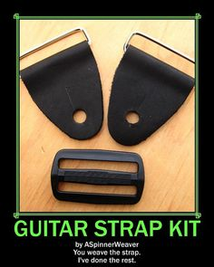 Guitar Strap Kits are now available in brown as well as black leather. by ASpinnerWeaver (Annie MacHale) on Etsy