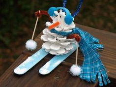 Too  cute! Pinecone Snowman Tutorial for the kids to make