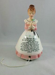 Rare Vintage Ceramic Praying Lady Kitchen Prayer String Holder, Made In Japan, Kitchen Decor by EmptyNestVintage on Etsy