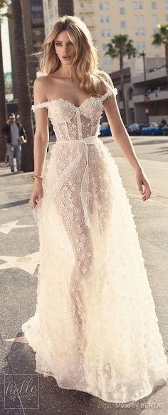 MUSE by BERTA Spring 2019 Wedding Dresses - City of Angels Bridal Collection | Romantic Off the shoulder wedding dress | Fit and flare bridal gown | unique lace bridal dress | #weddingdress #weddingdresses #bridalgown #bridal #bridalgowns #weddinggown #br