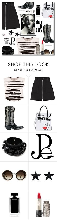 """Jean Dreams: Denim Skirts"" by pesanjsp ❤ liked on Polyvore featuring Brush Strokes, Madewell, Sonora, Moschino, Givenchy, Miu Miu, Narciso Rodriguez and denimskirts"
