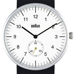 Braun BN0024 watch in white with black leather strap by Braun. Available at Dezeenwatchstore.com #watches