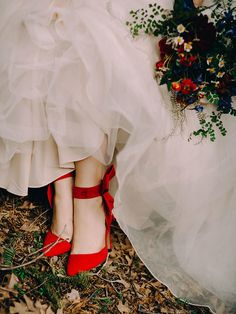 If your Disney princess isn't about the all-white wedding look, rock some strappy heels in her staple color of choice.