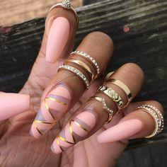 # Pink & Gold Nails