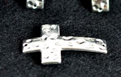 Silver Plated horizontal Hammered Cross Charm by TEN36Designs, $1.00 #TEN36Designs