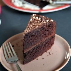 A chocolate layer cake filled and frosted with ganache...now who can say no to that?
