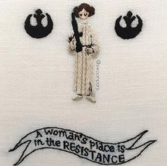 Too Cute Tuesday Leia Organa by siwooinparis Baby Embroidery, Embroidery Hoops, Geek Crafts, The Force Is Strong, Patchwork Patterns, Geek Out, Geek Stuff, Star Wars, Stars