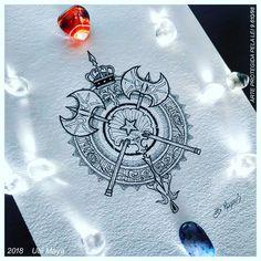 Shield of Shango/Xangô, Orisha of justice, and his mother Yemoja/Iemanja. By Ubi Maya (Brazil). Shango Orisha, Bracelete Tattoo, Religion Tattoos, Africa Tattoos, Yoruba Religion, Cool Tats, Compass Tattoo, Tattoo Inspiration, I Tattoo