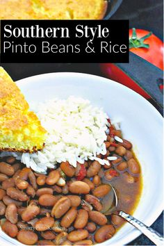 Make a big batch of Southern PInto beans and rice. How to season! Soaking and cooking methods.  #howtocookpintobeans #southernrecipes #southernpintobeans Pinto Beans And Rice, Rice And Beans Recipe, Bean Recipes, Healthy Recipes, Rotel Tomatoes, Ham Hock, Smoked Ham, Dried Beans, Kidney Beans