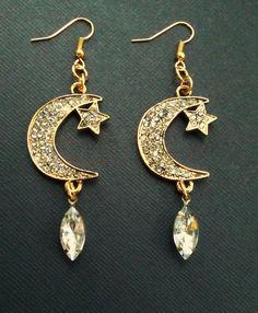 Moon and Star earrings www.etsy.com/shop/RedGypsyJewelry