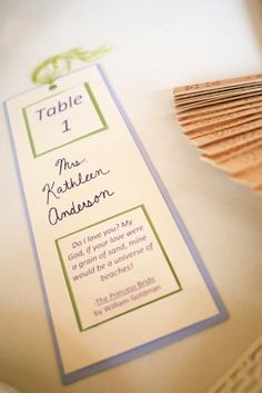 Our escort cards were bookmarks personalized with quotes that came from the books at each centerpiece.