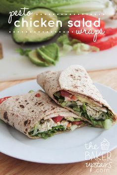 Pesto chicken salad wraps from The Baker Upstairs. A healthy and delicious lunch that comes together in just a few minutes! www.thebakerupstairs.com