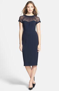 Maggy London Illusion Yoke Crepe Sheath Dress (Regular & Petite) | Nordstrom