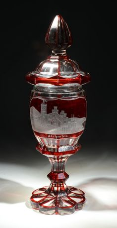 Bohemian Engraved Clear Glass Pokal, Ruby Stained, Facet-Cut Body, Raised Front Panel With A Wheel-Cut Town Scene - Bohemian c.1875