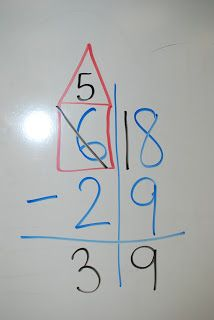 The Learning Tree: subtraction. Some learners will really benefit from drawing the house instead of crossing through.