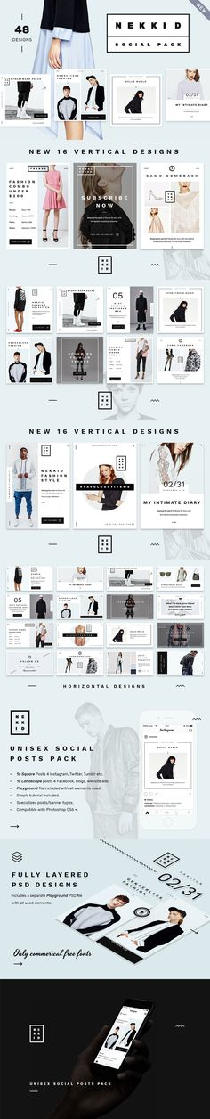 #Freebies : Nekkid is a minimalist, clean media post pack for #Facebook, Twitter, Pinterest, #Instagram & Tumblr, #advertising campaigns and blogs/websites. Design is heavily influenced by contemporary #art & #fashion magazine #typography, white space usage and sparse #abstract #geometric decorations. ( #branding #eCommerce #business )