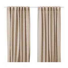 IKEA - AINA, linen Curtains, 1 pair, ,Linen gives the fabric a natural, irregular texture and makes it feel firm to the touch.The curtains can be used on a curtain rod or a curtain track.The heading tape makes it easy for you to create pleats using RIKTIG curtain hooks.You can hang the curtains on a curtain rod through the hidden tabs or with rings and hooks.