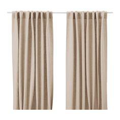 IKEA - AINA, Cortina, 1par, , Las cortinas filtran la luz y proporcionan privacidad, porque evitan que se vea la estancia desde el exterior.El lino aporta al tejido una textura natural irregular y firmeza al tacto.Puedes colgar las cortinas de una barra o de un riel.Pon ganchos RIKTIG en la cinta de la parte superior para crear pliegues.Puedes colgar la cortina de una barra con trabillas ocultas o con argollas y ganchos.
