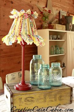 """Creative Cain Cabin: Cottage Style Lamp from a Garage Sale Find ... ripped fabric into 1"""" wide strips / choose a variety of patterns"""