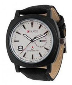 Curren Mens White Dial Black Strap Watch