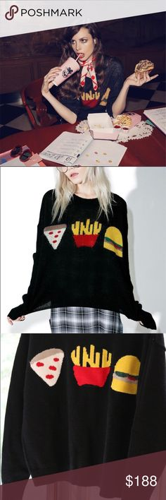 New Wildfox Fries with that lunch time Sweater Wildfox Couture Fries With That Lunchtime Sweater don't mind if I do~ This supa sweet sweater features a plush black open-knit style construction, slouchy oversized fit with dropped shoulders, ribbed trim, plenty of stretch, and adorable lil french fry, pizza, 'N burger graphics on tha chest. Materials: 30% Mohair, 40%Acrylic, 30% Nylon S:Length 54 Bust 106 Sleeve 52 M:  Length 55 Bust 108 Sleeve 53 L:Length 56 Bust 110 Sleeve 54 Wildfox…