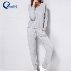 94de1da4 Pink WWomen Sweater Suit Winter Casual Casual Knitted Sweaters Pants 2PCS  Track Suits Female Trousers+Jumper Tops Clothing Set